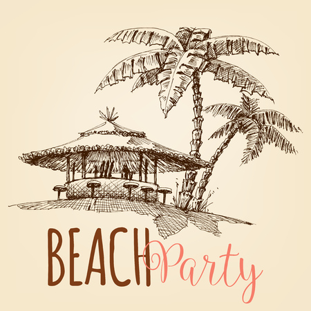 Beach party wallpaper, beach bar and palm trees  イラスト・ベクター素材