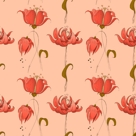 Floral seamless pattern in pink coral retro style  イラスト・ベクター素材