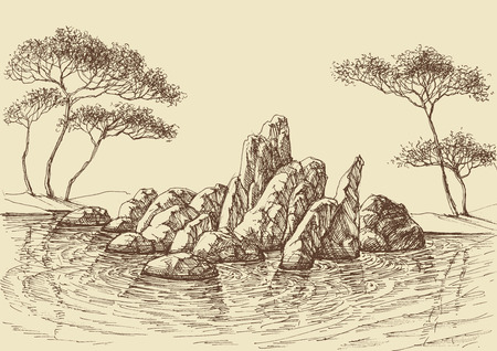 Nature wallpaper, rocks in the sea hand drawing  イラスト・ベクター素材
