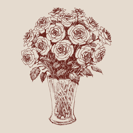 A bunch of roses in a flower vase hand drawing