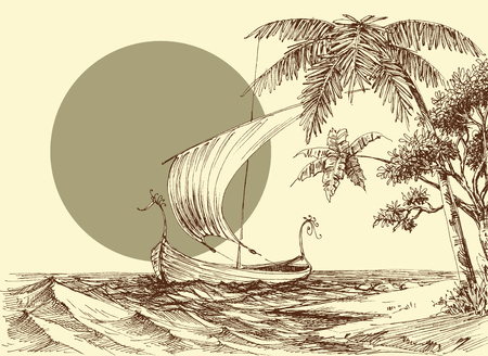 Sea scene, a boat on waves and palm trees on the beach  イラスト・ベクター素材