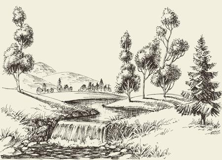 Paesaggio del flusso del fiume. Sfondo di natura disegnata a mano Vettoriali