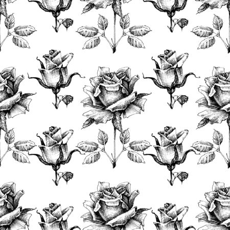 Black and white seamless pattern, hand drawn roses
