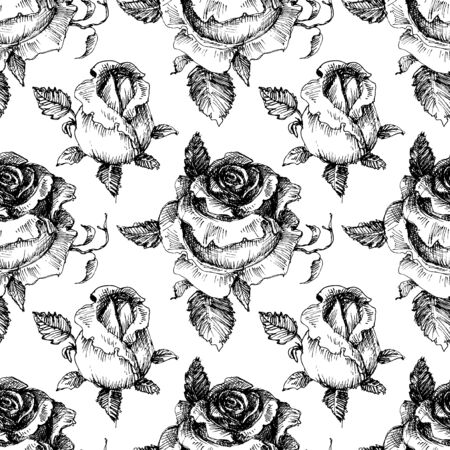 Roses seamless pattern, black and white