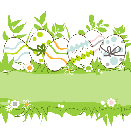 Easter eggs in the grass frame, space for text