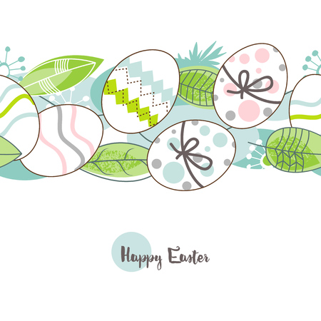 Easter eggs pattern, happy easter greeting card in spring colors