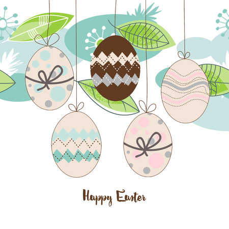 Easter seasonal background, hanging decorated eggs, spring leaves and flowers