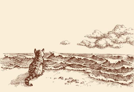 Eine Katze am Strand beobachtet die Meervektorhandzeichnung