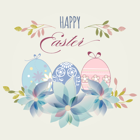 Easter eggs greeting card in pastel colors