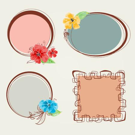 Frame set, floral decorations