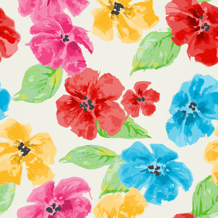 Watercolor floral seamless pattern in bright colors