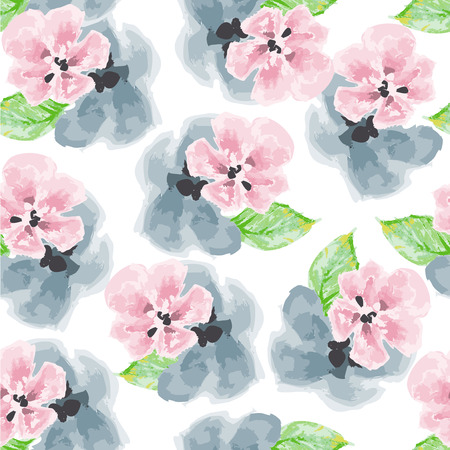 Watercolor pink and blue flowers pattern