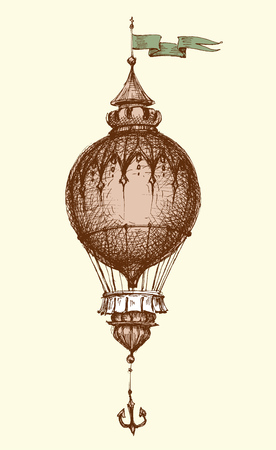 Hot air balloon vintage isolated hand drawing