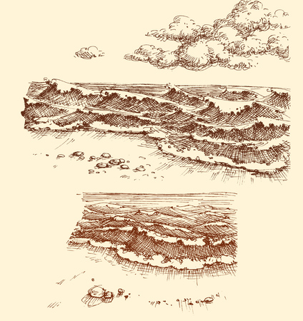 Beach and sea view set, drawing collection
