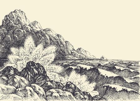 Sea or ocean hand drawing, waves breaking on shore