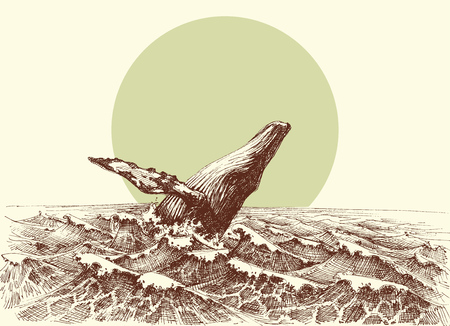 Humpback whale jumping out of the water in the ocean Illustration