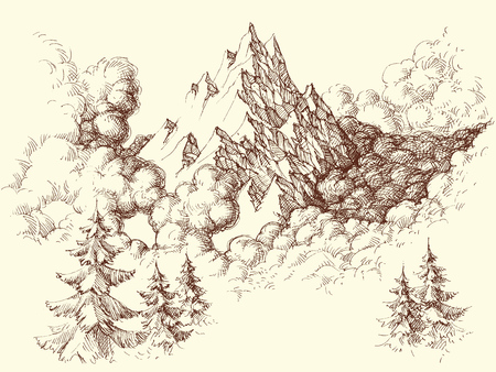 Mountains sketch. Mountains ranges in the clouds hand drawing  イラスト・ベクター素材