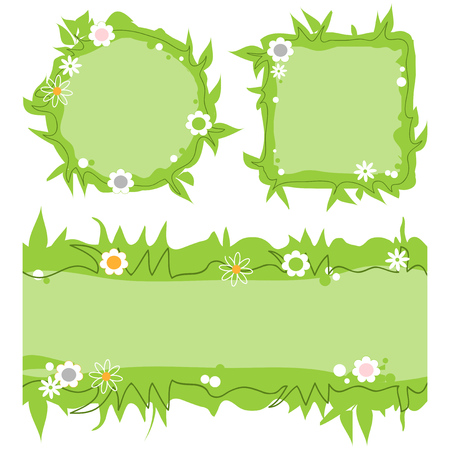 Cute decorative frames set, green grass nature borders, banners  イラスト・ベクター素材