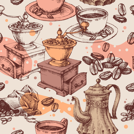 Coffee seamless pattern, coffee mill, kettle and other vintage coffee making items