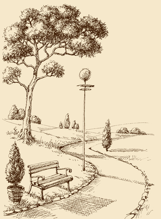 City park alley and bench hand drawing  イラスト・ベクター素材