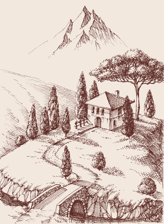 Alpine farm hand drawing. Mountains in the background and a river surrounding the property
