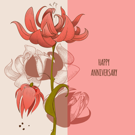 Floral greeting card, cute flowers anniversary congratulation message