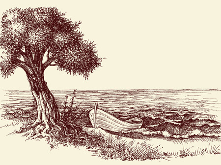 Olive tree and a boat on sea shore wallpaper