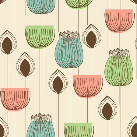 Floral design in pastel colors seamless pattern