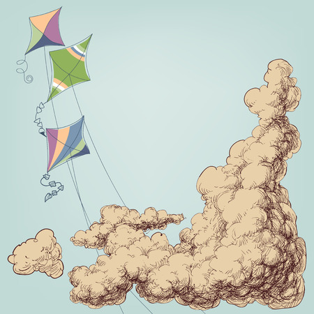 Colorful kites flying in the blue sky and clouds