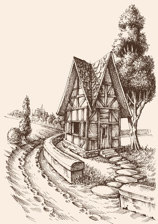 Countryside artistic drawing. Rural road and challet sketch