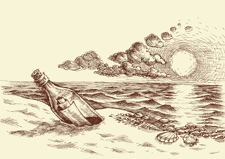 Message in a bottle hand drawing. A bottle with a letter on the beach, sunset sky and sea view sketch