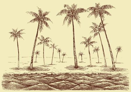 Palm trees beach panorama, view from the sea vector sketch Ilustração