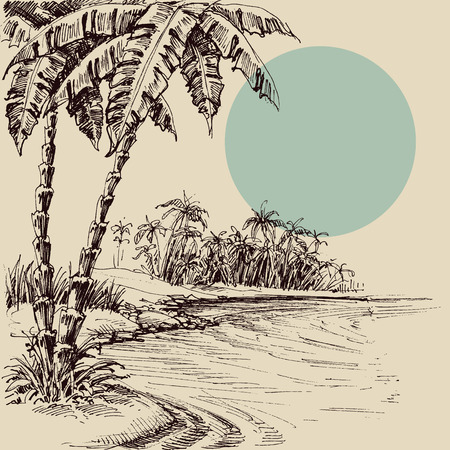 Sea view from the palm beach hand drawing