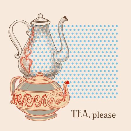 Tea leaflet, kettles design elements Ilustração
