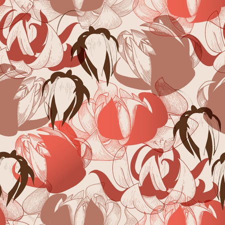 Flowers pattern in warm colors, retro style lilies