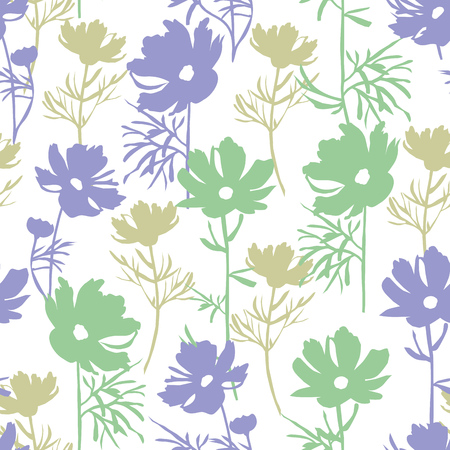 Floral seamless pattern in pastel colors