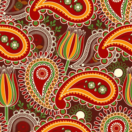 Patrón sin fisuras de Paisley y tulipanes sobre fondo oscuro Ilustración de vector