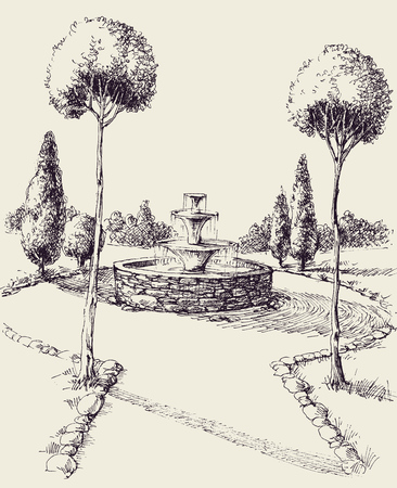 Water fountain in a park hand drawing. Park alley sketch