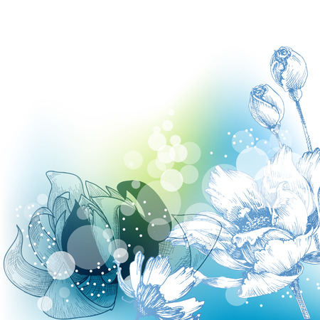 Spring bright floral background in blue and green. Roses and lilies design