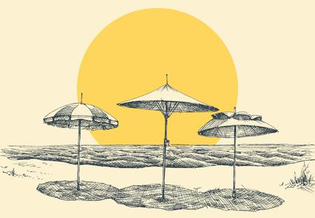 Beach and sea panorama. Umbrellas on the beach by the sea
