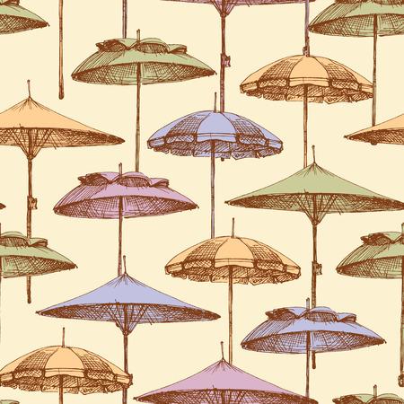 Beach umbrellas seamless pattern. Vector background of summer holidays