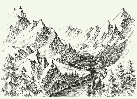River flow in the mountains. Hand drawn alpine landscape