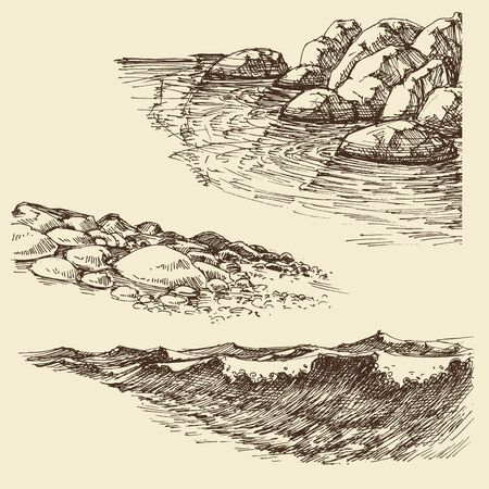 Sea and ocean waves, sea shore design elements  イラスト・ベクター素材
