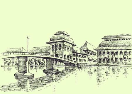 City bridge over the river hand drawing, generic urban architecture vector sketch