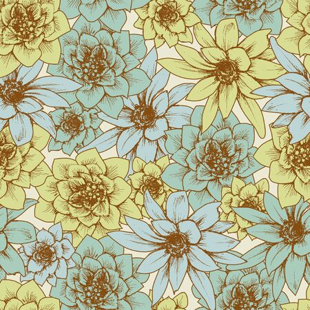 Floral seamless pattern in retro style  イラスト・ベクター素材