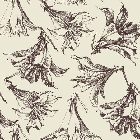 Floral pattern, graphic lilies 版權商用圖片 - 134077942