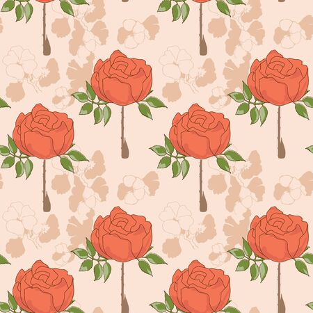 Floral seamless pattern, retro style roses
