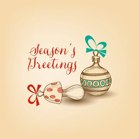 Christmas greeting card, cute holiday ornaments