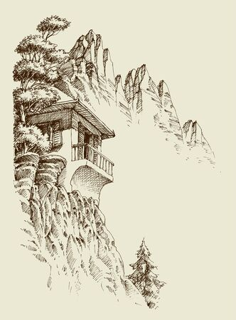 Alpine sketch background. Mountain hut, pine tree forest and mountain ranges Stock Vector - 134078029