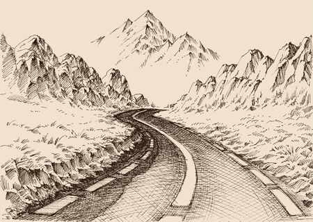Empty road passing through alpine landscape hand drawing. Travel background